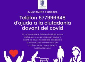 Ondara habilita un número de teléfono de ayuda a la ciudadanía frente a la COVID